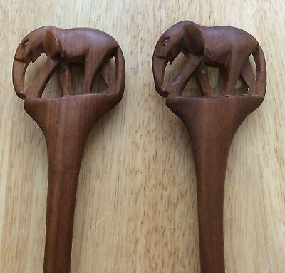 VTG Carved Wood Salad Servers (2) Sets One Each of Elephant & Rhino Spoon/Fork