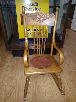 Antique Victorian Pressed Back Oak Bent Wood Arms Child's Rocking Chair