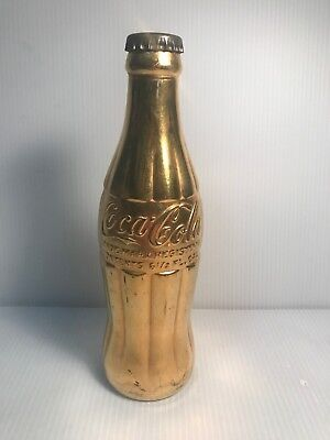 Vintage Gold Tone Coca-Cola Glass Bottle Collectible Mt. Carmel Illinois 6 1/2oz