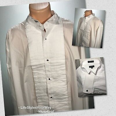 Men's Tuxedo shirt MILANI Wing Tip Formal Pleated Front After Six Wedding White