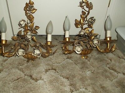 Vintage Pair of gilt roses tole wall light sconces MADE ITALY HOLLYWOOD REGENCY