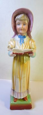Antique BISQUE PORCELAIN GIRL With OPEN BOOK MATCH HOLDER Striker Hand Painted