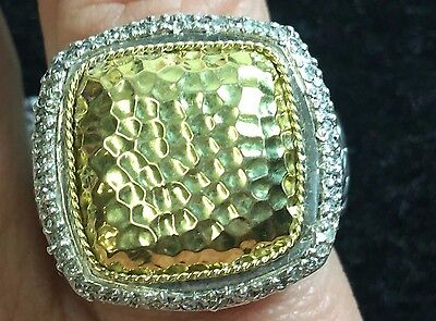 Stunning Silver And 18 Kt Yellow Gold And Diamond Hand Carved Ring With .40 Diam