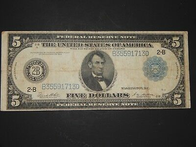 Five Dollar Federal Reserve Note, Series of 1914, Large Note