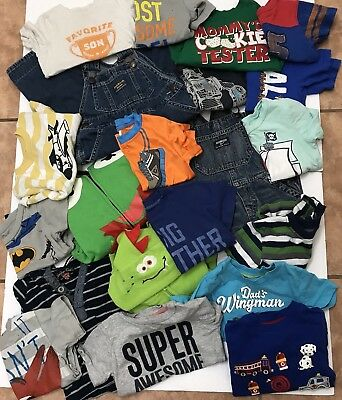 Lot of 21 Toddler Boys 24 Months 2T 3T Clothing T-shirt, Overalls, Sweaters