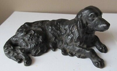 Antique Black Painted CAST IRON DOORSTOP Paperweight SPANIEL DOG Estate Find