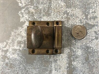 Vintage cast iron Cabinet Cupboard Door Turn Latch w/ brass tone finish old