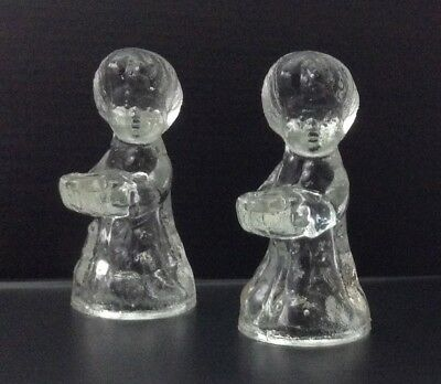 Vintage Crystal Angel Mini Taper Candle Holders Set of 2