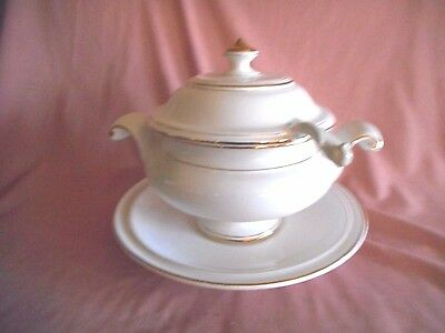 Portugal Soup Tureen, White & Gold, Ladle Under plate - OAL - Maker????