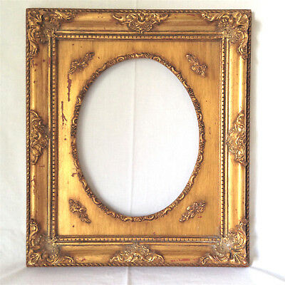 Vtg Fancy Carved Wood Gold Frame 15x13 Shabby Cottage Oval Open Fits 7.5x 9 3/4