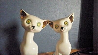 Pair of Vintage MCM/kitschy white ceramic cats.Gold details/green yellow eyes