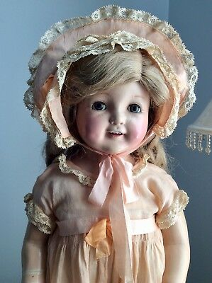 1920s Antique Petite American Character Mama Doll Composition and Cloth