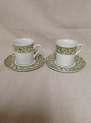 J&G Meakin England STERLING RENAISSANCE Set of 2 Cups & Saucers Green Ivory