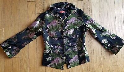 Women Chinese Black Silk With Light Pink/Gold Floral Embroidery Jacket Size S