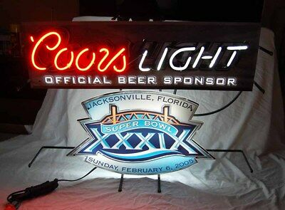 Coors Light Beer Super Bowl 39 Neon Sign Football Patriots Eagles 2005 - Rare