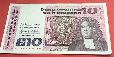 1981 Central bank of Ireland £10 banknote