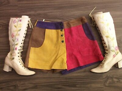 Vintage 60's Suede Patchwork Rainbow Hot Pants Dress Shorts 70s Leather