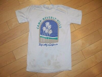 Vtg Camp Beverly Hills Paper Thin Destroyed T-Shirt XS