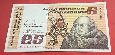 1992 Central bank of Ireland £5 banknote