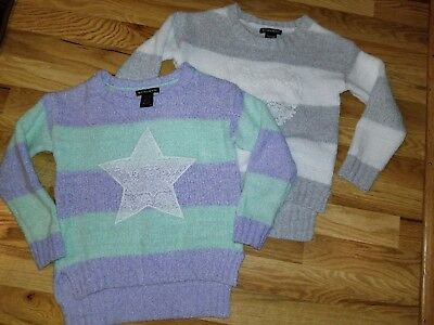 Lot of 2 Girls BLUSH AND BLOOM Chenille Sweaters Stars & Heart Size Small EUC!