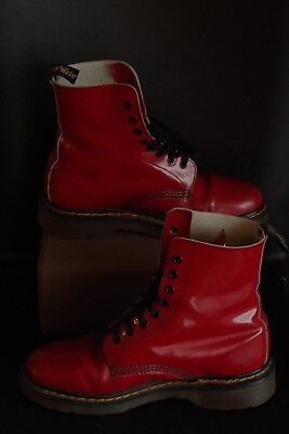 Vintage VTG MADE IN ENGLAND Doc DR. Martens PATENT RED 8-eyelet Boots SIZE 4 UK