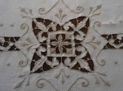 Vintage Madeira Linen Embroidered Tablecloth Taupe Needle Lace Cutwork 80""