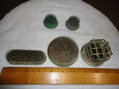 Lot of (5) Sizes  Vintage Flower Frogs  Caged Metal Green Flower Arranging