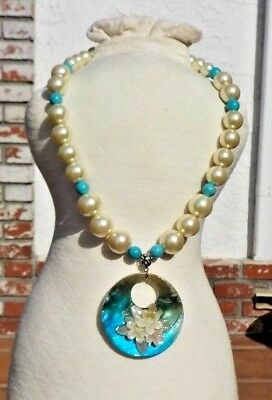 Ladies White Faux Pearl Turquoise Silver & Floral Shell Necklace Free Shipping