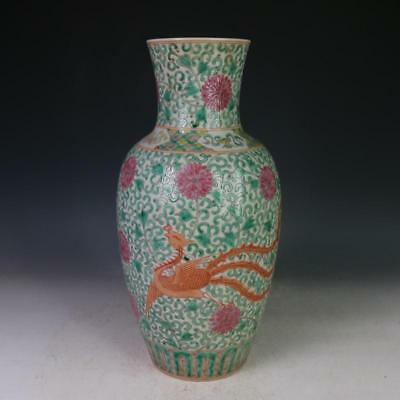 China antique Porcelain Qing kangxi multicoloured Phoenix guanyin vase