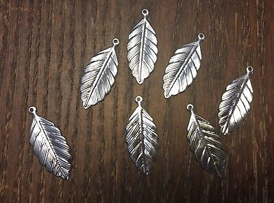 Vintage NOS Silver Plate Realistic Texture Leaf Father Charms Drops Findings Lot