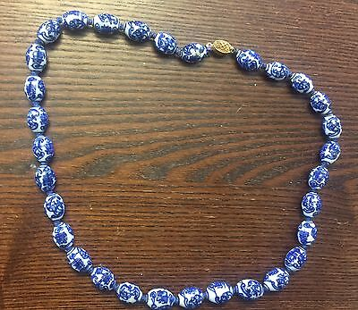 Vintage Asian Blue White Ceramic Chunky Fancy Symbol Oval Bead Knotted Necklace