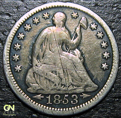1853 P Seated Half Dime  --  MAKE US AN OFFER!  #Y9856