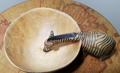 Zebra Wood Bowl Hand Carved & Painted Ethnic African Decorative Jungle Art Zoo