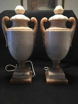 Pair French Antique hand carved Alabaster Urn Lamps