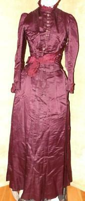 BEAUTIFUL ORIG VICTORIAN 1880s VTG ANTIQUE LADY'S VISITING BUSTLE 2PC GOWN DRESS