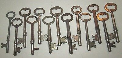 lot of 13 VINTAGE SKELETON KEYS LOCK DOOR ANTIQUE key MORE KEYS LISTED