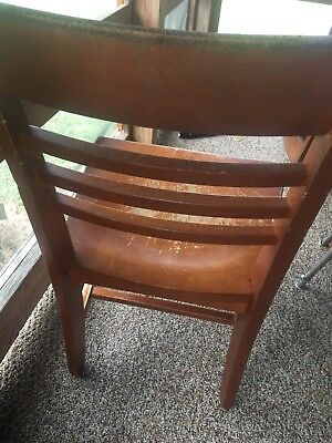 Vintage Antique 1950's Wood/ Oak Chairs, School Home Or Office Ladder Back