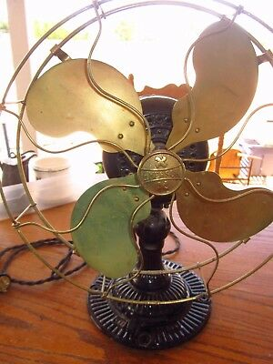 Rare Vintage Original early 1900s Fancy Base Brass blade and Cage Emerson fan