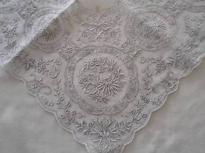 Vintage Madeira Linen Wedding Hanky Encrusted Gray Embroidery Honeycomb Lace D