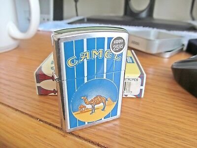 Vintage Camel Zippo Lighter Stripes~New in Metal Tin with Sleeve~1998