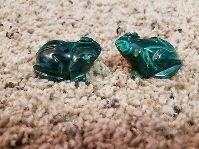 Lot of 2 Stone Carved MALACHITE Small Green Frogs from Africa in EUC