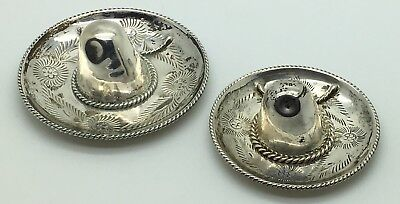 Sterling Silver Sombrero Hat Trinket Dish Set Of 2 Stackable Small Eagle Mark
