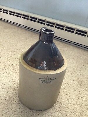 "Vintage Stoneware 11"" Whiskey Jug With A Blue Crown Seal"