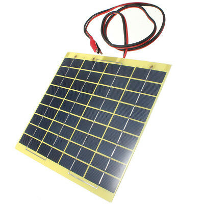 12V 5W Solar Panel & Clips For Car Home Camping Boat Battery Charger L DT