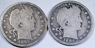 1892 P and 1894 S Silver Barber Quarter Circulated Duo Nice