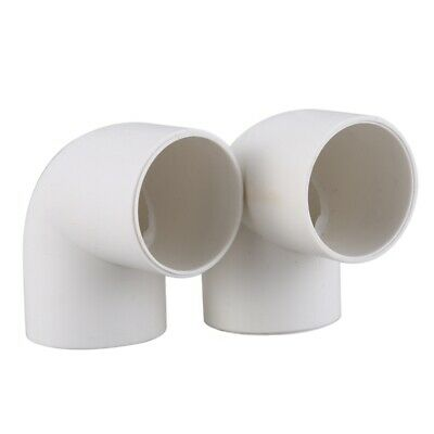 2 PCS Elbow White PVC 32mm Inner Diameter Wire Pipe Connector P7V5