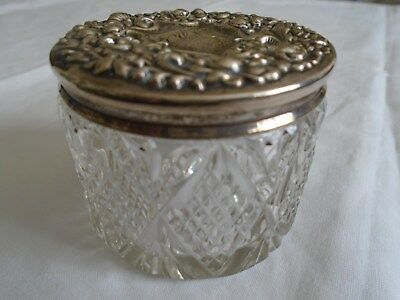 Sterling Silver Crytal Art Noveau Powder Jar