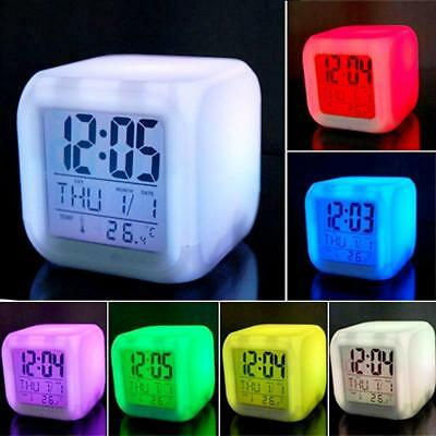 7-LED Color Changing Digital Alarm Clock & Thermometer Night Glowing Cube