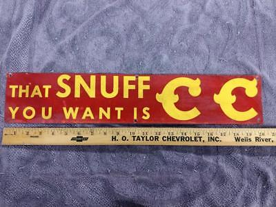 EARLY VINTAGE CC SNUFF TIN LITHO DOOR PUSH (?) PLATE SIGN--4x21--NICE!!