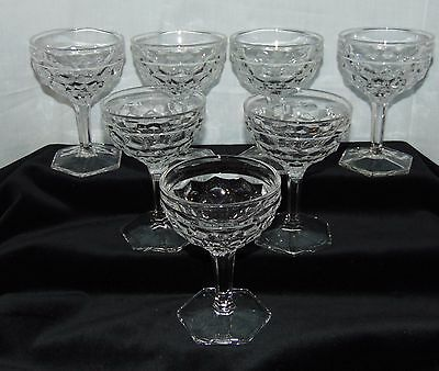 "7 Fostoria AMERICAN CRYSTAL *4 3/4"" TALL SHERBETS w/HEXAGONAL FOOT*"